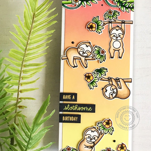 Sunny Studio Stamps: Silly Sloths Tropical Scenes Birthday Card by Candice Fisher