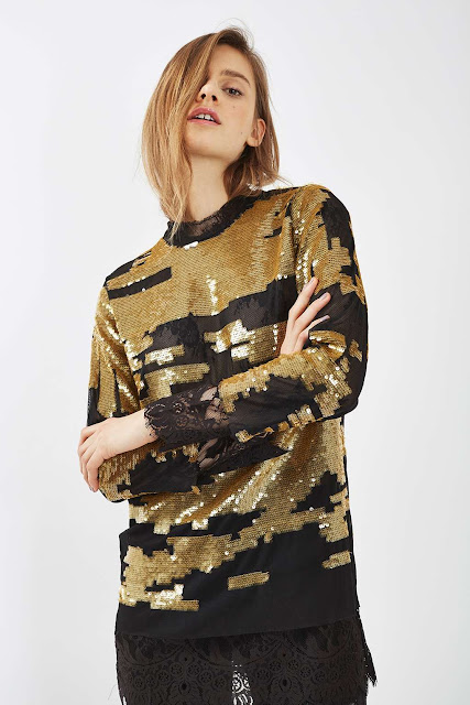 gold sequin top, topshop black gold sequin top, sequin long sleeve top,