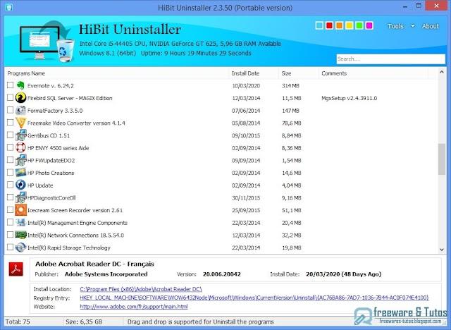 HiBit Uninstaller : un logiciel gratuit de désinstallation de programmes
