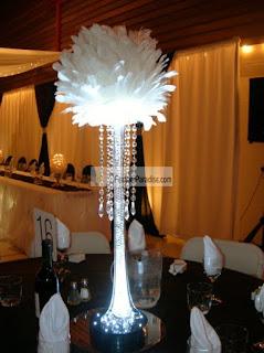 boule de plume vase haut centre de table mariage