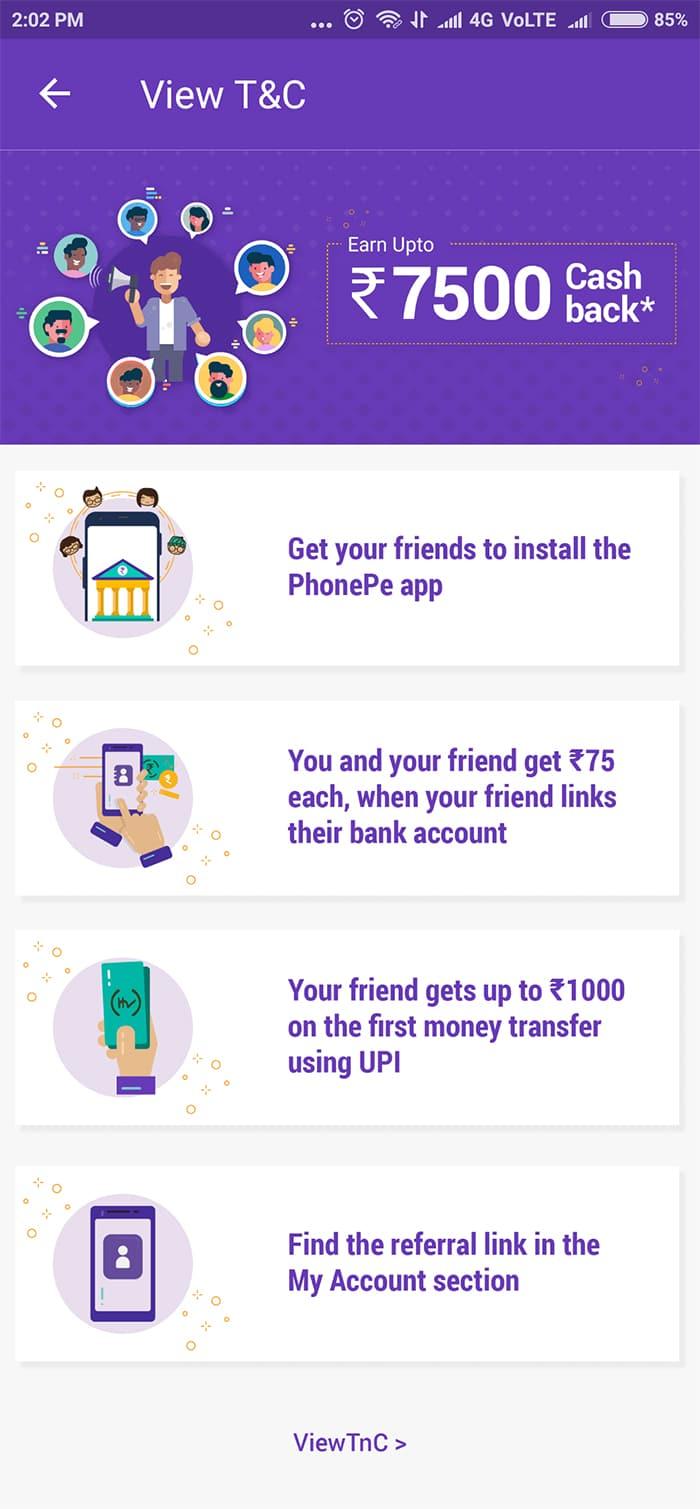 7500 cashbank tame winner,  PhonePe app par