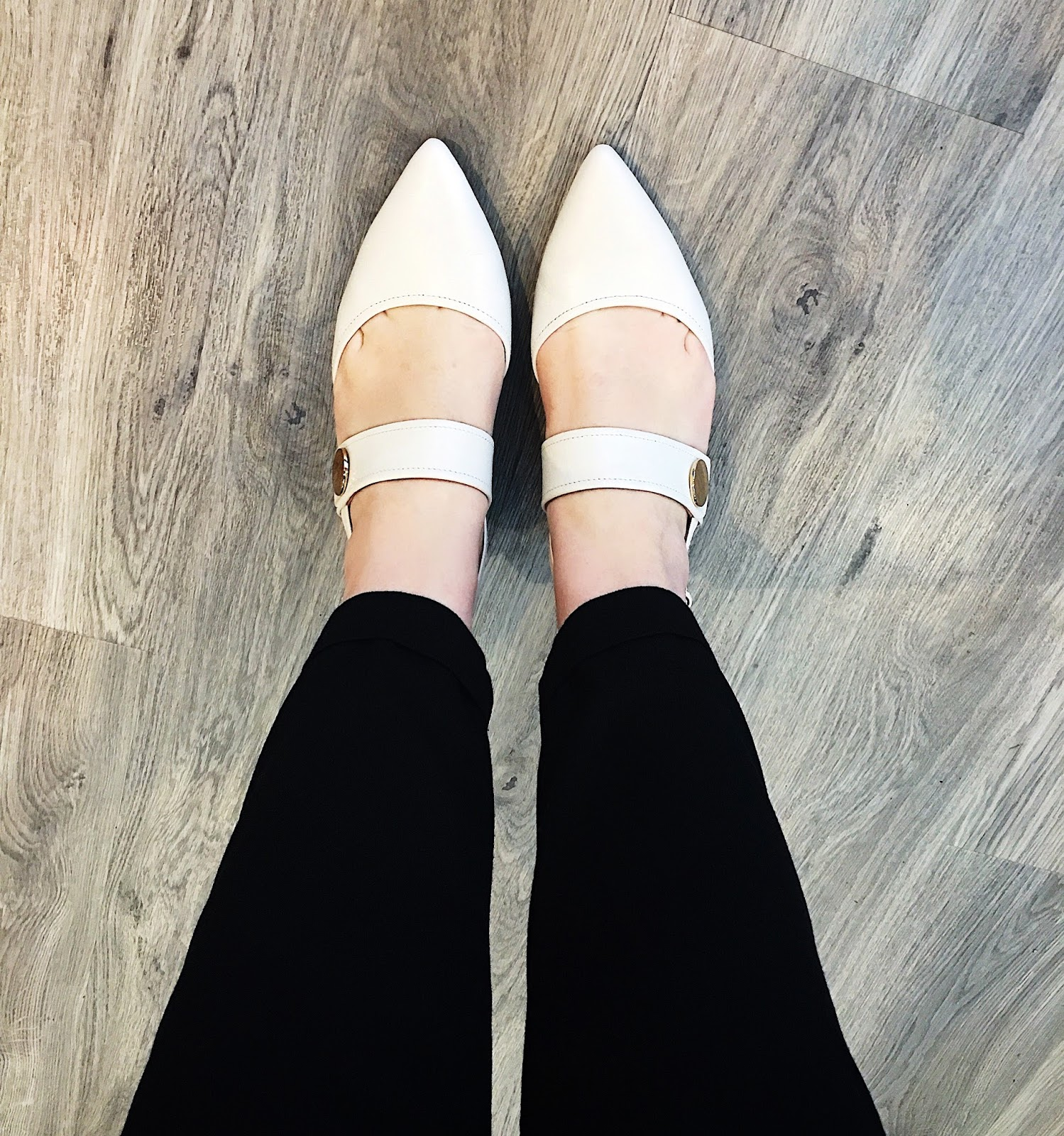 NEXT white button kitten heel