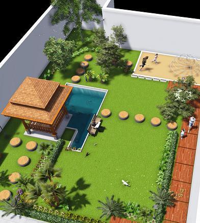 jasa gambar desain pekarangan taman di belakang rumah - 3d