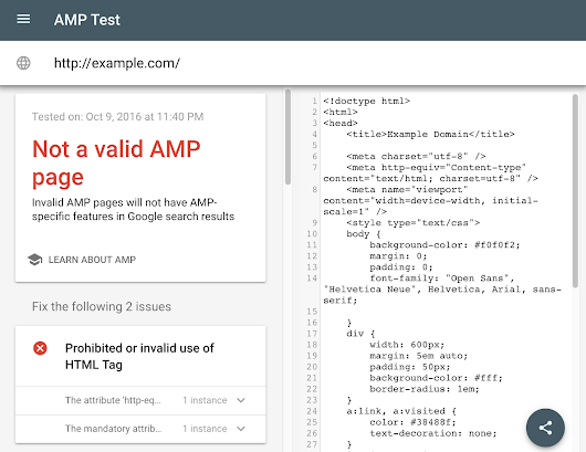 Using AMP? Try our new webpage tester