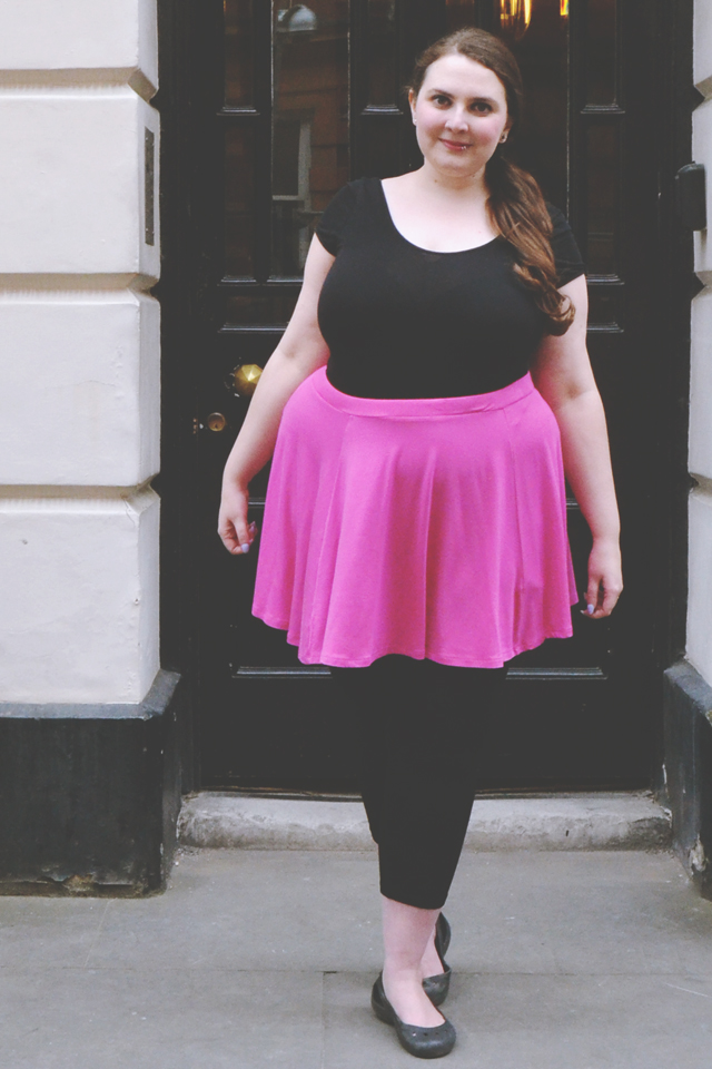 Pink Skirt and Black Top Outfit