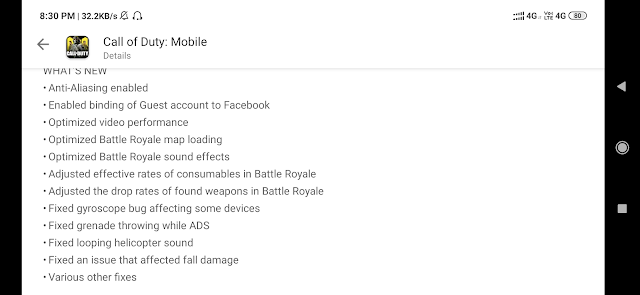 Call Of Duty Mobile 1.0.2 Features