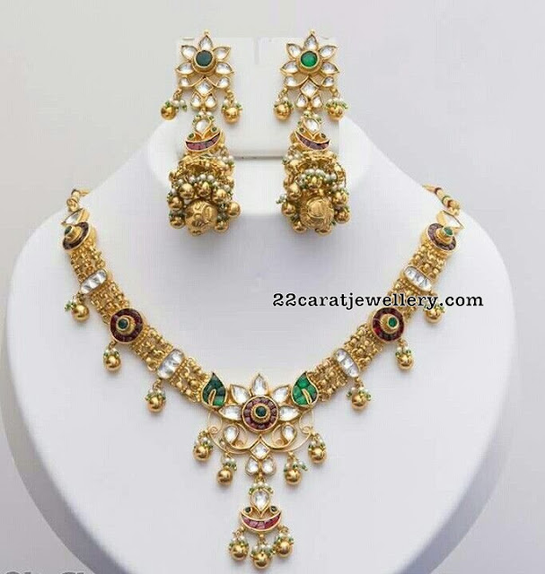 Light Weight Kundan Set Heavy Jhumkas