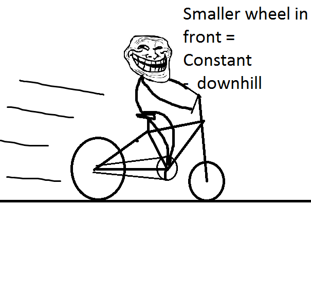 troll physics comic using a smaller wheel in front to travel