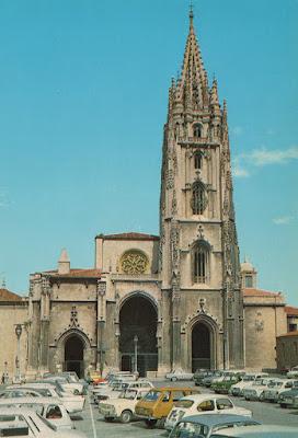 plaza, catedral, Oviedo, postal