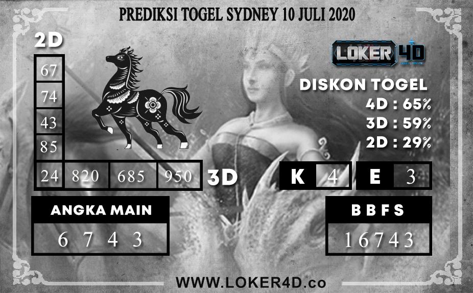 PREDIKSI TOGEL LOKER4D SYDNEY 10 JULI 2020