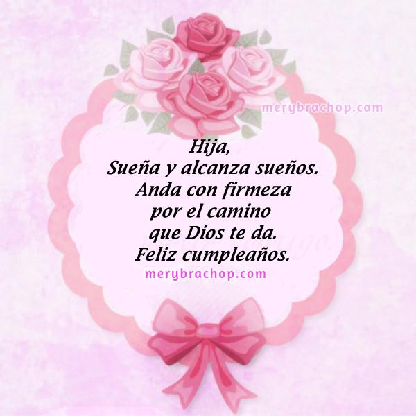 tarjeta para felicitar hija en su cumpleaños rosada