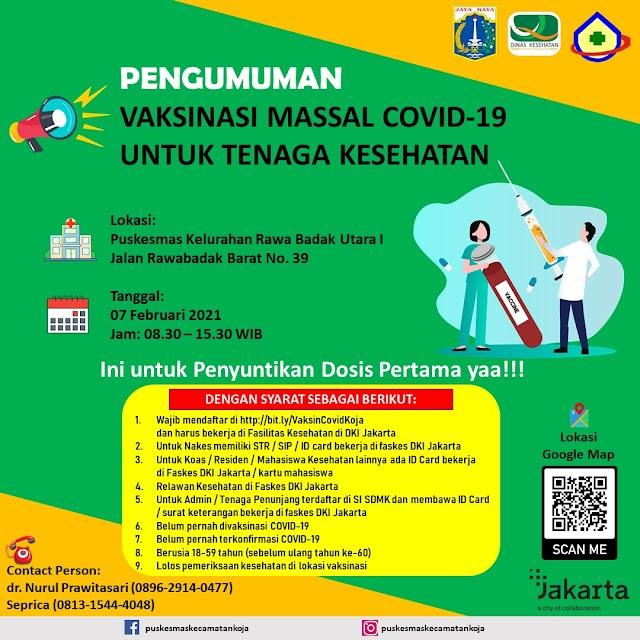 Vaksinasi Massal Covid-19 Untuk Tenaga Kesehatan di Puskesmas Kecamatan Koja Jakarta