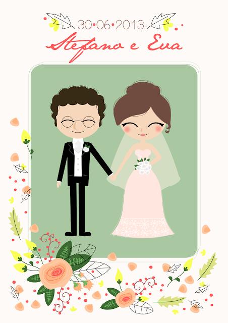 grafica personalizzata matrimonio ritratto sposi