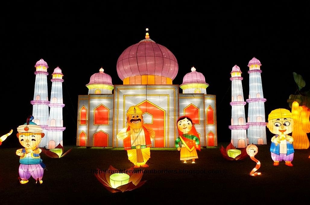 The Indian lantern display lit up at night during Mid-Autumn Festival, Garden by the Bay, 2014