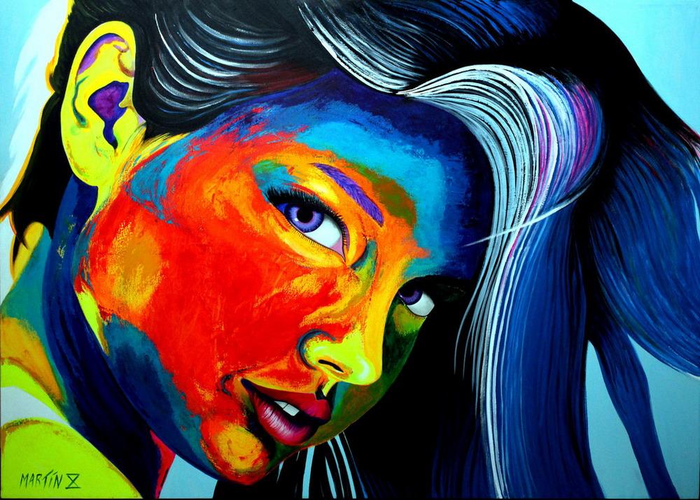 Im genes arte pinturas rostros de lindas chicas pinturas - Cuadros modernos con mucho color ...