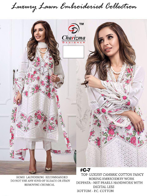 Charizma White Colour Edition pakistani Suits