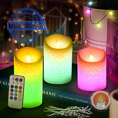 Đèn cầy sáp điện tử khắc hoa văn điều khiển 12 màu