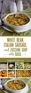 White Bean Soup with Turkey Italian Sausage, Zucchini, and Basil found on KalynsKitchen.com