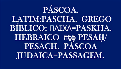 O vocábulo Páscoa Pessach que traduzindo literalmente significa passagem. O mesmo significado pode encontrar no grego Πάσχα que é igual à passagem.