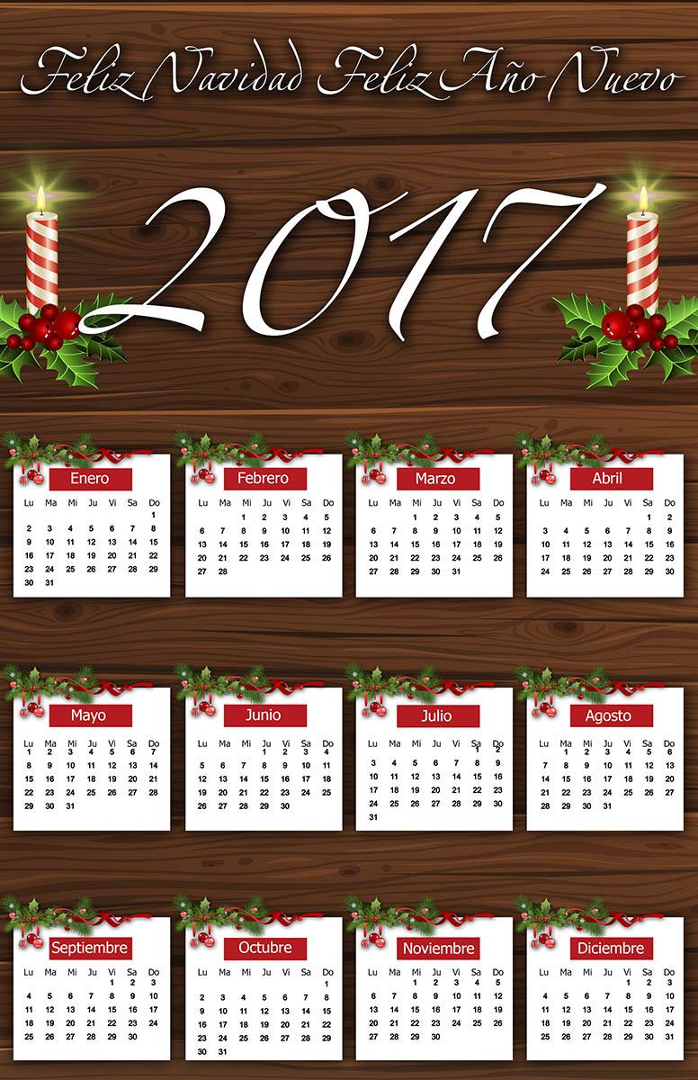 Calendario 2017 para navidad Calendarios 2019 Gratis y editables