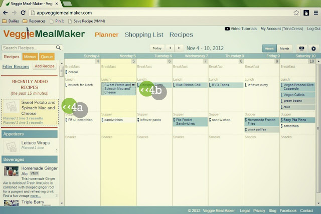 meal-planning tool, saved recipe, veggie meal-maker