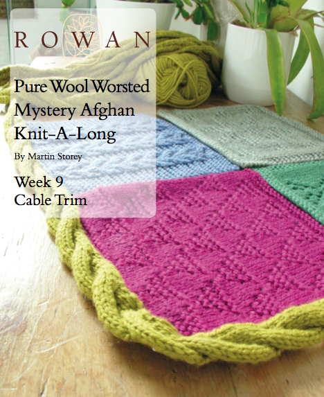 How to turn a cabled afghan border using short rows -- Rowan Mystery Martin Storey Afghan KAL I finishing tips