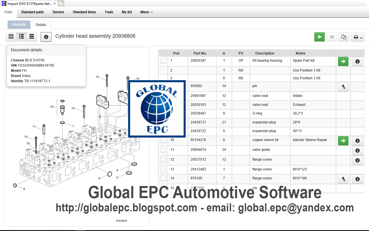 GLOBAL EPC AUTOMOTIVE SOFTWARE: VOLVO IMPACT DVD 8137