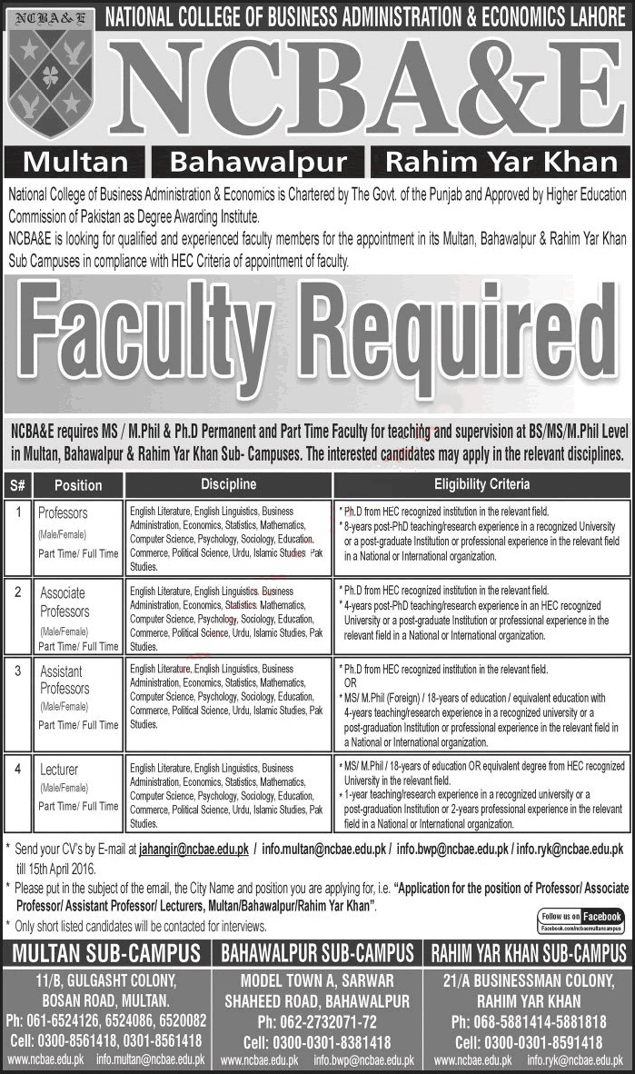 Teaching Faculty Jobs in NCBA & E at Multan, Bahawalpur & Rahim Yar Khan Campuses