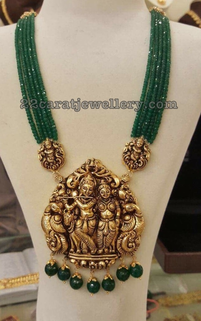Emerald Beads Set with Radha Krishna Pendant