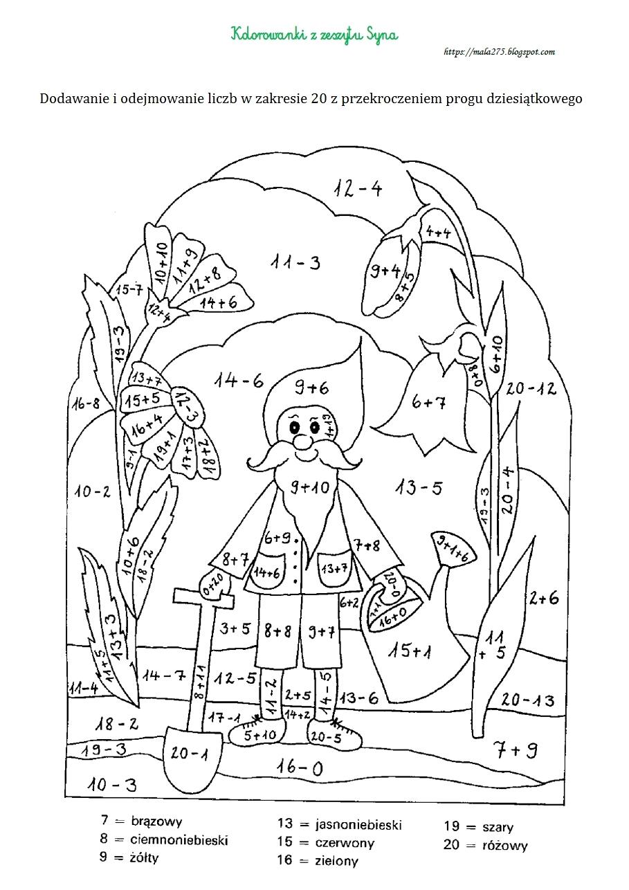 blog edukacyjny dla dzieci kolorowanka matematyczna