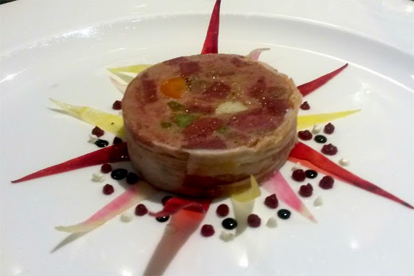 Ballotine of ox tongue with beets and balsamic jus