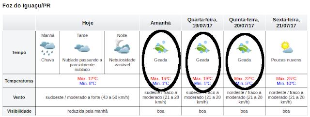 Semana de Frio e Geada Negra em Foz do Iguaçu