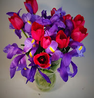 Red Tulips and Iris Bouquet