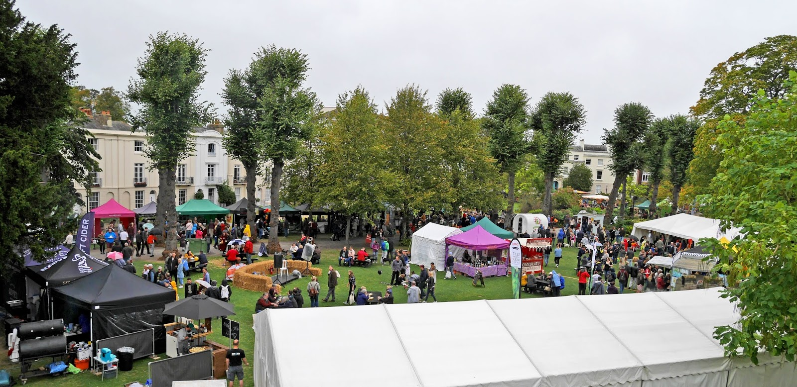 Looking down on the Canterbury Food Festival from the Mound in Dane John Gardens, Canterbury