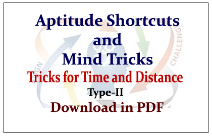 Aptitude Shortcuts and Mind Tricks for Time and Distance in PDF