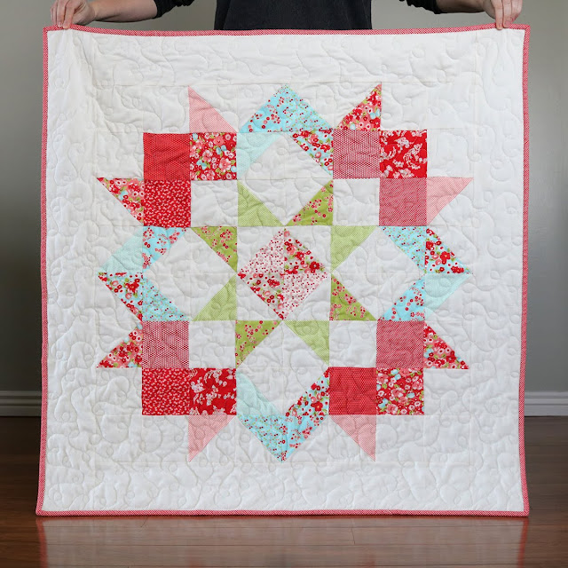 Moda Love free baby quilt pattern - quilt by Andy at A Bright Corner