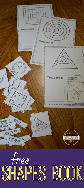FREE Shapes Book! Kids will have fun learning shapes with this LOW PREP printable book. Includes shape mazes, shape words, and 2 real work shapes to color / cut & paste for each shape. Perfect for early math for preschool, prek, kindergarten, first grade, and 2nd grade students.