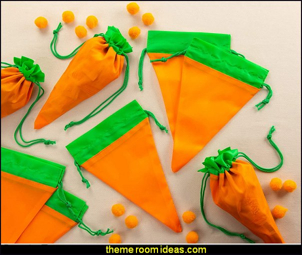 Carrot-Shaped Fabric Easter Party Favor Bags bunny rabbit party decorations