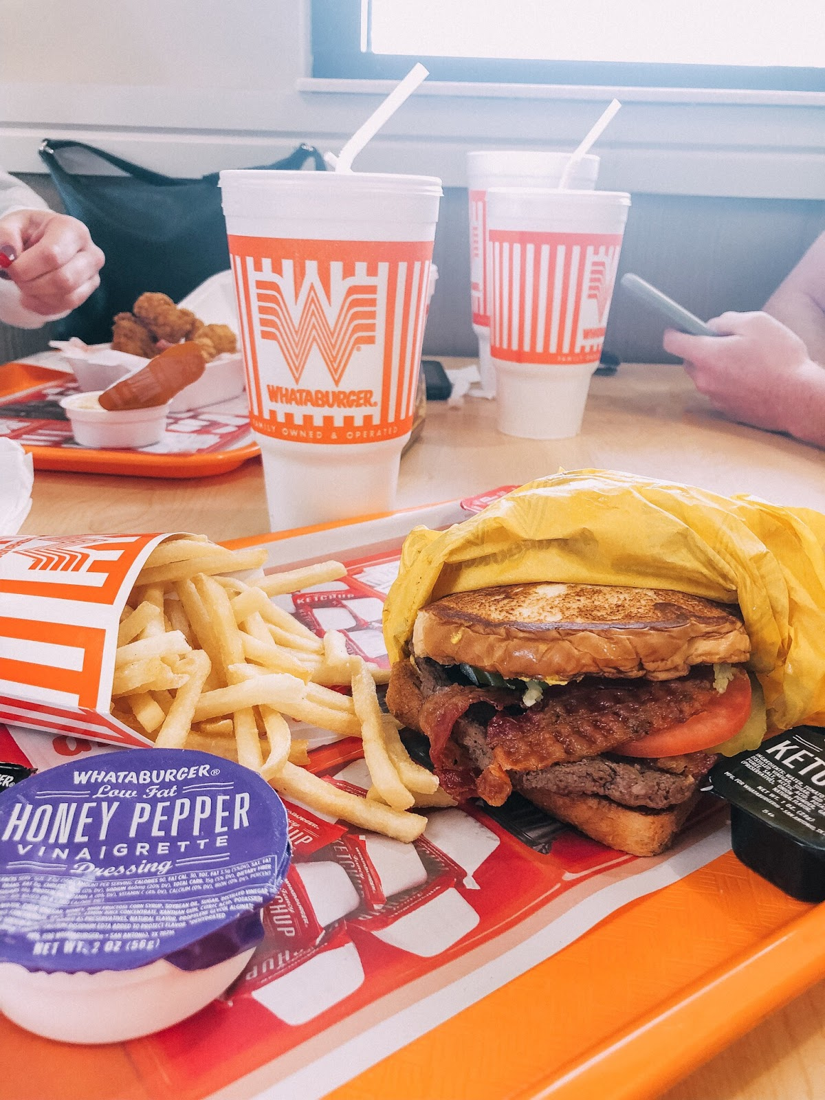 Pit stop at Whataburger on a road trip. We ordered the Jalapeño and Cheese Whataburger on Texas Toast