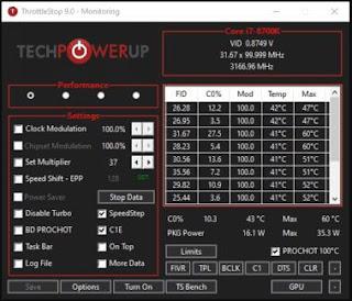 """برنامج, لمراقبة, وتتبع, سرعة, وأداء, معالج, الكمبيوتر, """"البروسيسور"""", وقياس, درجة, الحرارة, ThrottleStop"""