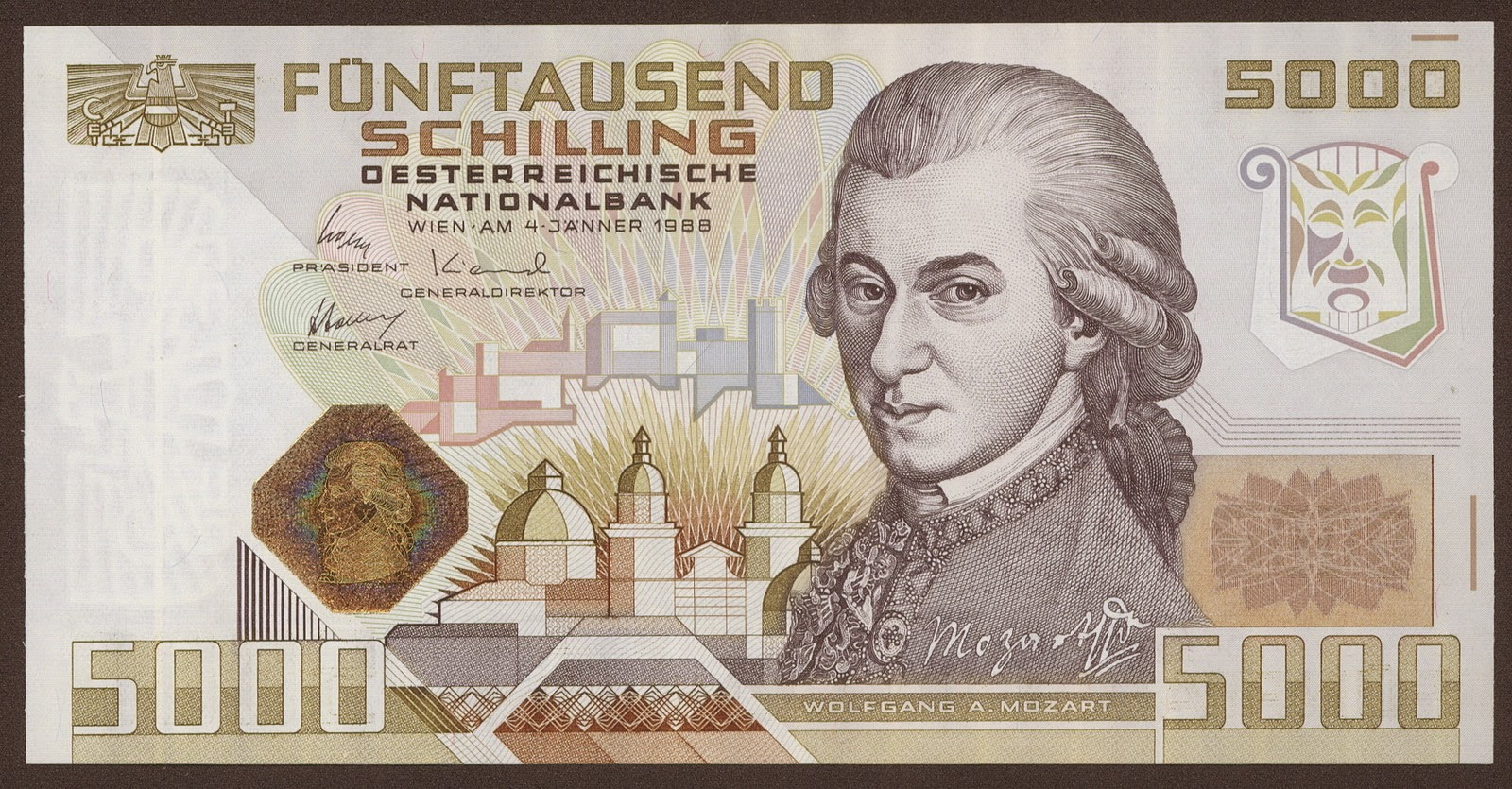 Austria currency 5000 Austrian Schilling banknote, Wolfgang Amadeus Mozart