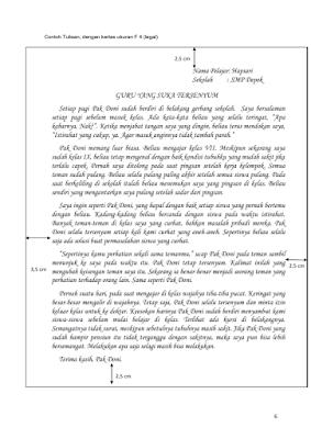 contoh tulisan pelajar menulis tentang guru
