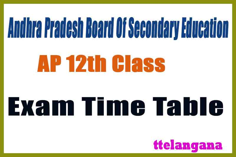 AP 12th Exam Time Table