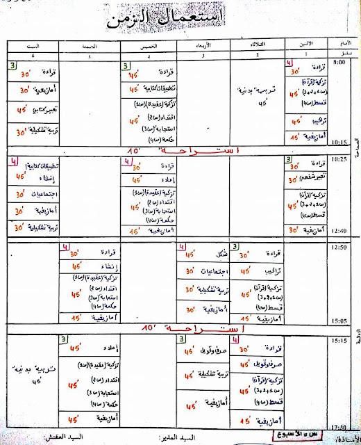 استعمال الزمن  المستويبن الثالث والرابع وفق التقسيم الجديد للتربية الإسلامية