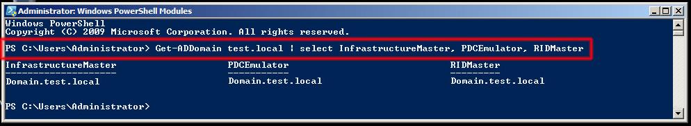 Comando Get-ADForest test.local   select DomainNamingMaster, SchemaMaster
