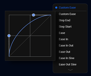 Transition Curves (Ease) which can be applied to key frames.
