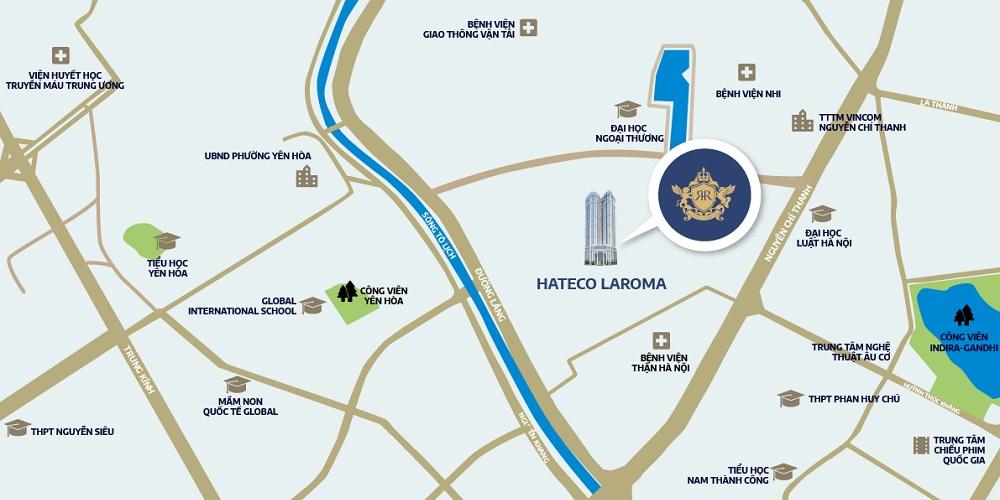 Vi trí chung cư Hateco La Roma Chùa Láng - vị trí vàng giữa lòng thủ đô