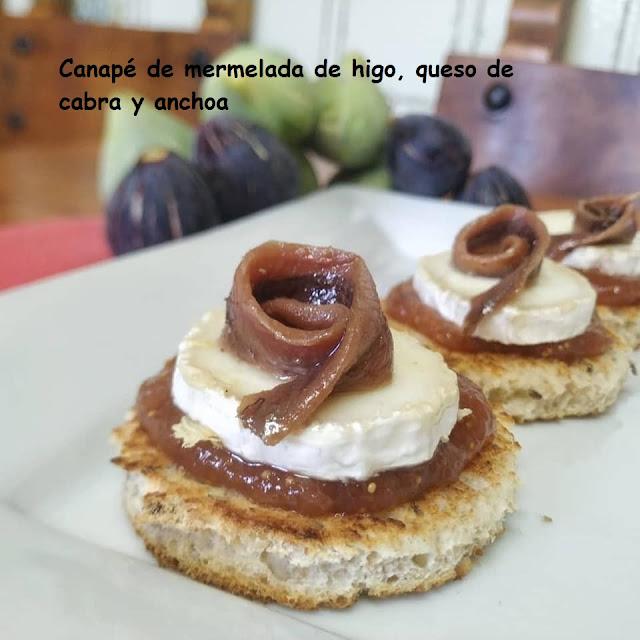CANAPÉ DE MERMELADA DE HIGO, QUESO DE CABRA Y ANCHOA
