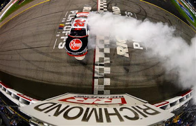 Christopher Bell celebrates Win with a burnout.