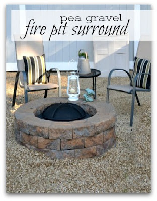 fire pit with pea gravel surround